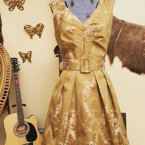 Vintage 1960s 1950s brocade gold dress